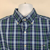 Vineyard Vines Whale Blue Green Check Plaid Mens Dress Button Shirt Size Large L