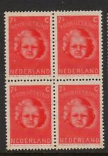 NETHERLANDS 1945 CHILD WELFARE 7 1/2c + 4 1/2c BLOCK OF 4 MNH