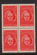 NETHERLANDS 1945 CHILD WELFARE 7 1/2c + 4 1/2c BLOCK OF 4 MNH