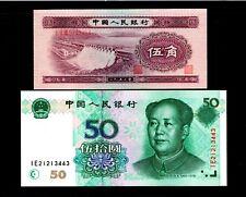 2pcs China 1953 5Jiao 1999 50 Yuan Paper Money GEM UNC  #460