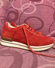 Blu Byblos Donna Ragazza Nuove Affare Rosso Strass Corallo Sportive Sneakers