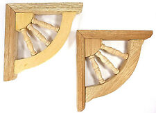 Pair of Wood Shelf Brackets Corbels NEW unfinished with turned Spindles