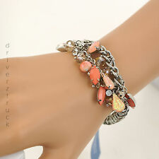 SIMPLY VERA WANG Silver CHAIN with SALMON Clear & PINK BEADS Stretch BRACELET