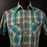 Dickies Mens Shirt MEDIUM Short Sleeve Blue Regular Fit Check Cotton