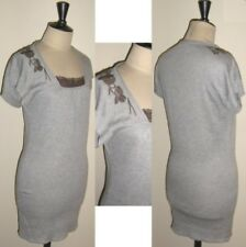 robe tunique cop copine neuve pithon grise fleurs brodé marron taille 2 M 38