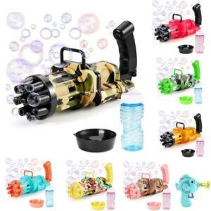 Kid Bubble Machine Electric Automatic Gatling Bubble Gun Summer Soap Water