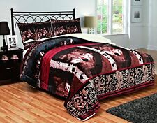 Fancy Linen 3pc King Blanket Sumptuously Soft Plush Wolf Face Burgundy Brown New