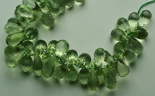 "760 CT 9"" SUPER Natural Green Amethyst Faceted TEAR DROP SHAPE  BEADS 17- 23 MM"