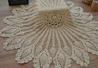 "36"" Round Crochet Cream Pineapple Doily Wedding Table Cloth Cover Runner Topper"