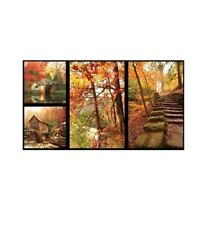 """23"""" Fabric Panel - Red Rooster Digital Printed Fallscapes Autumn Forest Blocks"""