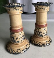 Handpainted Ceramic Pair of Candlesticks Cream & Blue Sponge w/Rose Accent Band