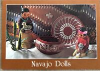 Vintage Postcard Navajo Dolls Typically Dressed Boy And Girl Tending Thier Sheep