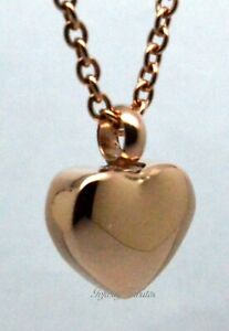 Cremation Urn Necklace Keepsake Pendant Ashes 18k Rose Gold Plate Small Heart