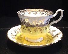 Royal Albert Regal Series Yellow Gold White Cup Saucer England