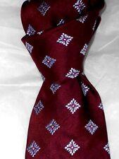 "$115 NWOT IKE BEHAR Burgundy Geometric 3.4"" men's woven silk neck tie USA"