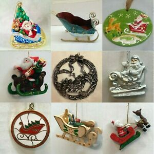 S76 SANTA SLEIGH ORNAMENTS Each priced separately MANY CHOICES Sled Ride Winter