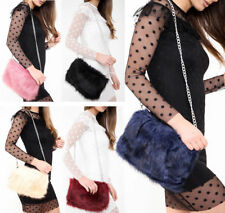New Ladies Designer Soft Fluffy Feather Faux Fur Clutch Bag Purse Chain Runway