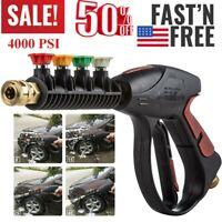 High Pressure 4000PSI Car Power Washer Spray Gun Wand/Lance Nozzle Tips Hose Kit