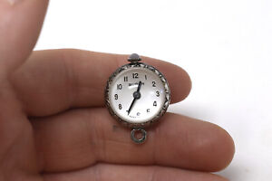 Rare Vintage Sterling Silver Buren Manual Wind Crystal Ball Pendant Watch #26759