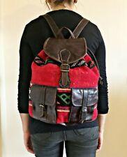 Vintage Leather Backpack Bag Kilim Carpet Tapestry Woven Fabric tan Boho Ethnic