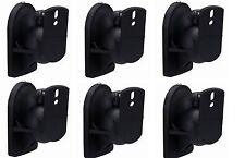6 Pack Universal Satellite Speaker Black Wall Mount Brackets