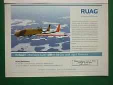 6/2005 PUB RUAG AEROSPACE SUISSE DRONE RANGER SWISS UAV SYSTEM ORIGINAL AD