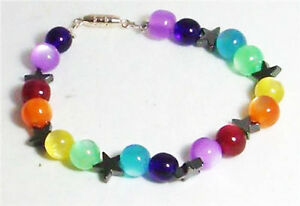 Chakra Rainbow Pagan bracelet with Hematite pentacles