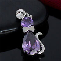 Wholesale Hot Sale Lovely Purple Cubic Zirconia Cat Silver Pendant