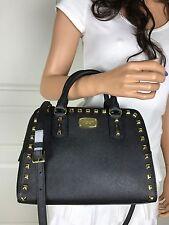 NWT Michael Kors Saffiano Leather Small Satchel Crossbody Purse Bag Black Stud