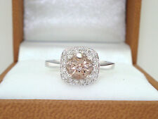 0.91 Carat Morganite Engagement Ring, Wedding Ring 14K White Gold Certified