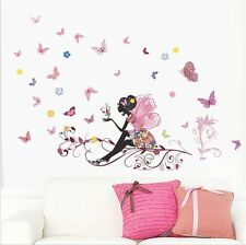 USA Flower Fairy Girl Butterfly Wall Sticker Decal Vinyl Removable Room Decor