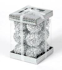 12 x Silver Glitter Christmas Tree Decorations Baubles Soft Foam Xmas Home Decor