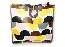 Shopping bag Retro pattern, yellow, pink, orange and grey, long handles-NEW