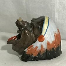 Vintage Black Americana Indian Chief W Headdress Bee Fly On Nose Ashtray