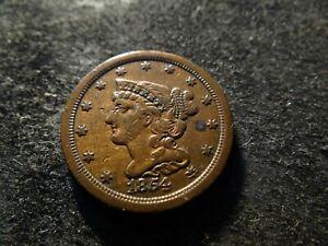 1854 Sharp Coronet Braided Hair Half Cent  KKA