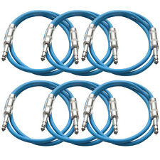 "SEISMIC AUDIO New 6 PACK Blue 1/4"" TRS 2' Patch Cables"