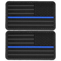 2x US Flag Blue Line Reversed Black PVC Morale Patch 3D Badge Hook #52