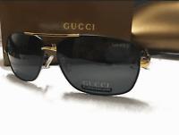 Gucci Mens Gold/Black Polarized Sunglasses 65.15.138