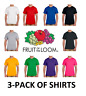 Fruit of the Loom 3-Pack T-Shirts - All Colors - FREE SHIPPING 100% Cotton 3930+