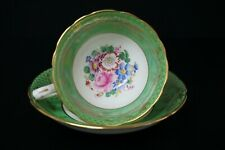 Hammersley Porcelain Floral Green Gold Cup and Saucer