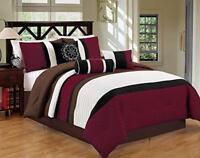 DCP7Pcs Luxury Stripe Comforter Bed-in-a-Bag Set California King Burgundy/Coffee