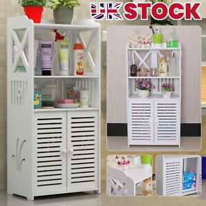 White Bathroom Wooden Shelf Cabinet Cupboard Unit Free Standing Bedroom Storage