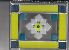 Blue Yellow and White fused glass small panel 9.5 x 8 inches SUNCATCHER
