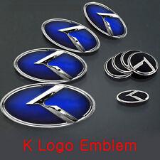 (Fit: KIA 2014-2016 Forte Sedan , K3 , Cerato) Blue K logo emblem 7pc SET