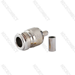 N type female jack crimp connector For RG58 LMR195 RG142 RG400 cable straight