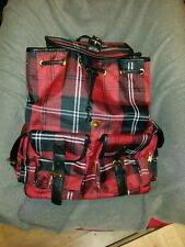 Punk Goth Tartan Check Work School Bag Uni Backpack
