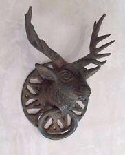 Forest Stag Raindeer Door Knocker Solid Pure Bronze Greenish Patina
