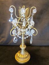 Candle holder 13.5 gold tone metal Glass teardrop Prisms beads Hollywood Regency
