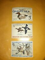 Lot Of 3 Migratory Bird Hunting Stamps