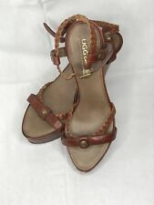 Ugg Collection Brown Leather Strappy Wedge Sandals Size 7.5